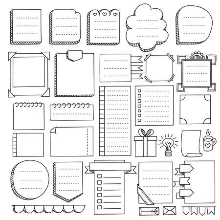 Ilustración de Bullet journal hand drawn vector elements for notebook, diary and planner. Doodle banners isolated on white background. Notes, list, frames and others elements. - Imagen libre de derechos