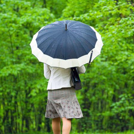 Woman under Rain with umbrella