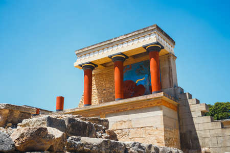 Photo for Scenic ruins of the Minoan Palace of Knossos on Crete, Greece - Royalty Free Image