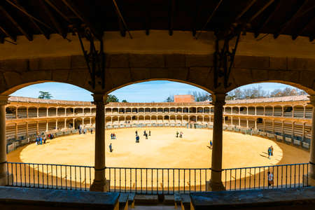 Foto de Ronda, Spain, April 05, 2018: Bullring in Ronda is one of the oldest and most famous bullfighting arena in Andalusia, Spain - Imagen libre de derechos