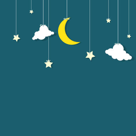 Illustration pour the night sky  moon, the stars and the clouds hanging on threads - image libre de droit