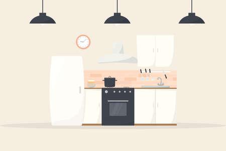Illustration pour cartoon kitchen interior - image libre de droit