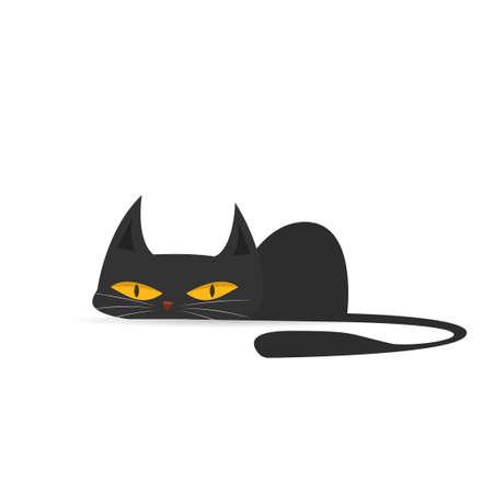 Ilustración de Cartoon black cat. Vector illustration isolated on white background - Imagen libre de derechos