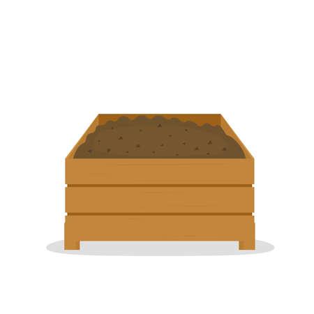 Illustration pour compost pile in wooden box - image libre de droit