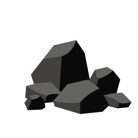 Illustration pour Pile of coal isolated on white background - image libre de droit