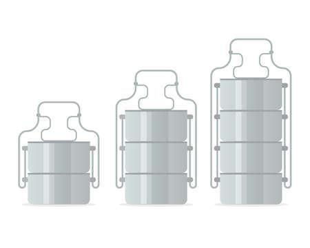 Illustration pour Tiffin food carrier icon set. Vector illustration isolated on white background. - image libre de droit