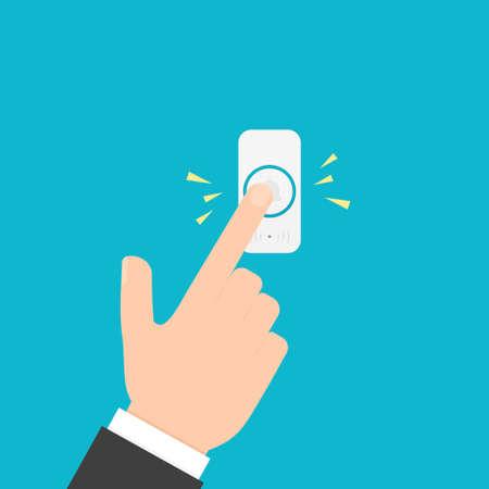 Ilustración de Hand pressing doorbell button - Imagen libre de derechos