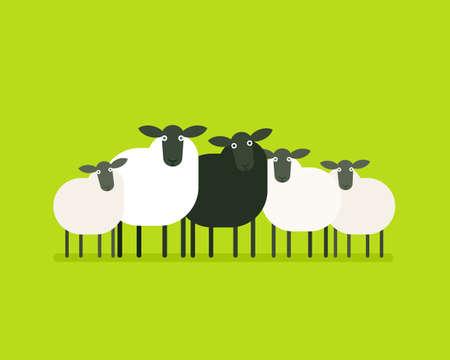 Illustrazione per Black sheep in the herd - Immagini Royalty Free