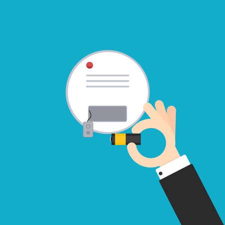 Ilustración de Replacing battery in smoke detector - Imagen libre de derechos