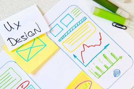 Foto de ux design app mobile phone. Creative planning application development draft sketch drawing template layout framework - Imagen libre de derechos