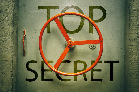 Foto de Top secret inscription on the of hermetic door - Imagen libre de derechos