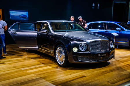MOSCOW, RUSSIA - AUG 2012: BENTLEY MULSANNE 2 GENERATION presented as world premiere at the 16th MIAS Moscow International Automobile Salon on August 30, 2012 in Moscow, Russia