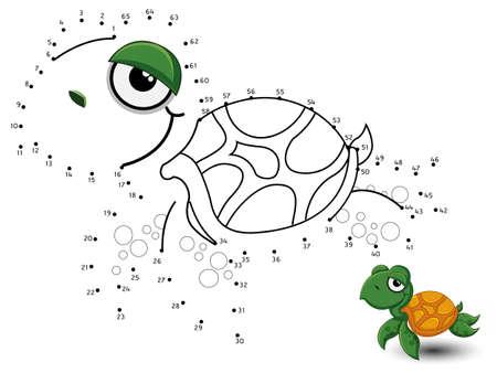 Illustration pour Turtle Connect the dots and color - image libre de droit