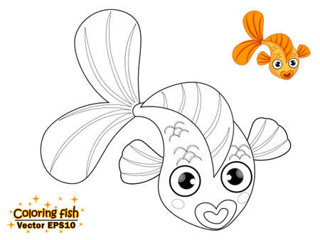 Illustration pour Coloring the cute cartoon fish. educational game for kids. Vector illustration. children and educational - image libre de droit