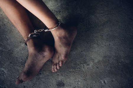 Foto de Human trafficking ,Stop abusing violence. - Imagen libre de derechos