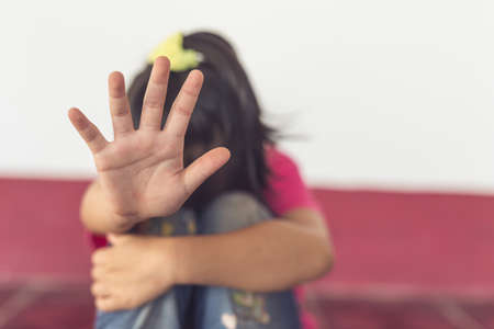 Photo pour Stop abusing violence. violence, terrified , A fearful child. - image libre de droit