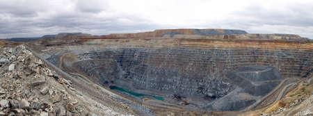 Photo pour Mining in a career. Panorama multi-level career. - image libre de droit