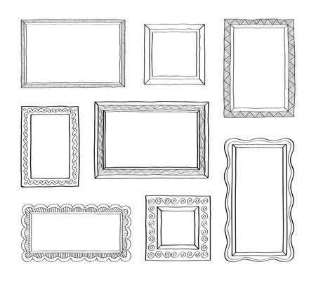 Illustration pour Vector set of vintage photo frames hand drawn doodle style antique ornamental and cute photo frames for decoration and design - image libre de droit