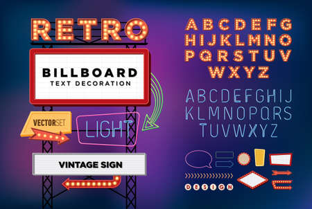 Illustration pour Vector set Retro neon sign vintage billboard bright signboard light banner - image libre de droit