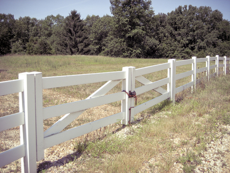 Foto de White Fence Bordering a Country Pasture with Trees - Imagen libre de derechos