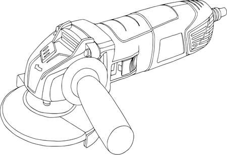 Illustration for Handheld, power circular saw, angle grinder illustration. - Royalty Free Image