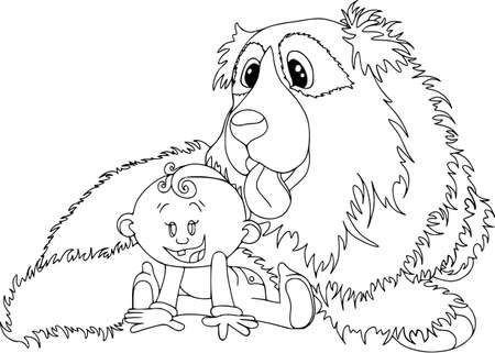 Kids playing, little baby with his BIG friend. People, pets, cartoon characters, isolated on white, coloring outline