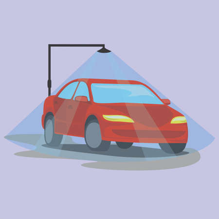 Ilustración de Washing dirty car, set of icons. Steps of cleaning cars from muddy dust to clean and shiny red. Automobile vector illustration isolated flat sign set. Shower. - Imagen libre de derechos