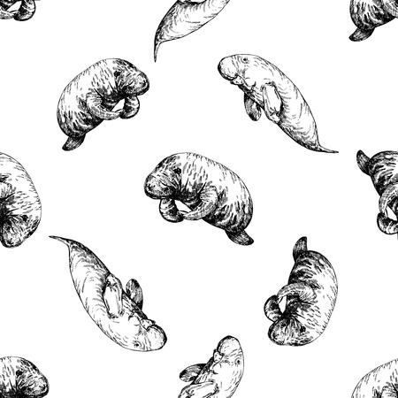 Ilustración de Seamless pattern of hand drawn sketch style manatees isolated on white background. Vector illustration. - Imagen libre de derechos