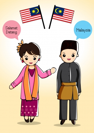 Illustration pour Malaysia traditional costume - image libre de droit