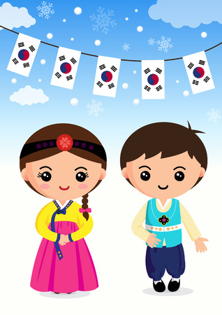 Illustration pour Korean traditional costume, Boys and girls, cartoon, asian - image libre de droit
