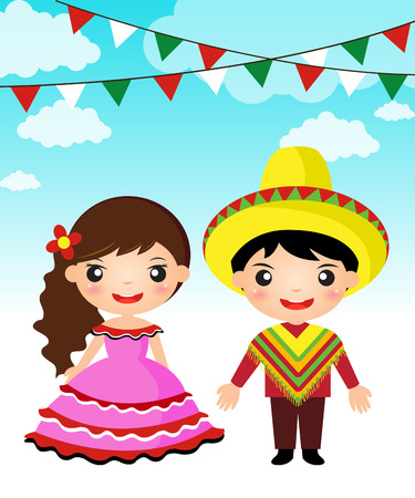 Illustration pour Mexican couple traditional costume cartoon boy girl  - image libre de droit
