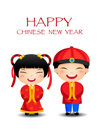 Illustration pour Cartoon Chinese Kids Boy Girl, happy chinese New Year - image libre de droit