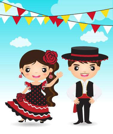 Illustration pour flamenco dancer Spanish man woman cartoon couple traditional costume - image libre de droit