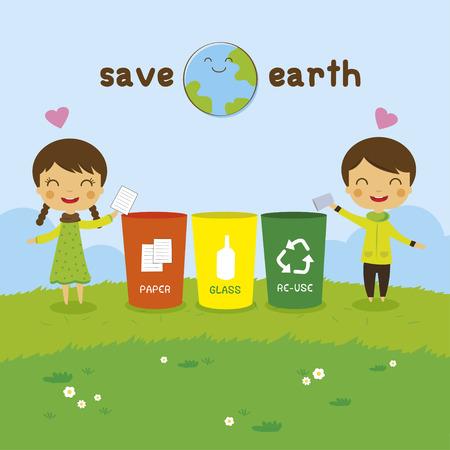 Ilustración de cartoon Saving the Earth, Recycling boy and girl, ecology concept - Imagen libre de derechos
