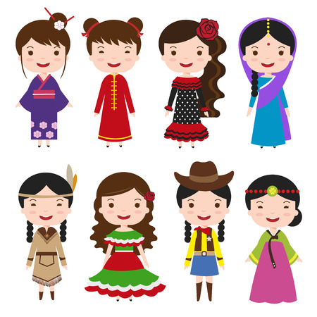 Illustration for traditional costumes character of the world dress girls in different national costumes - Royalty Free Image
