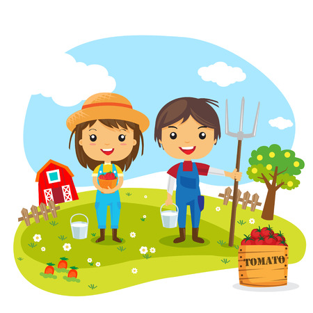 Ilustración de Farmers Cartoon working in farms,  gardener characters, Farm fresh - Imagen libre de derechos