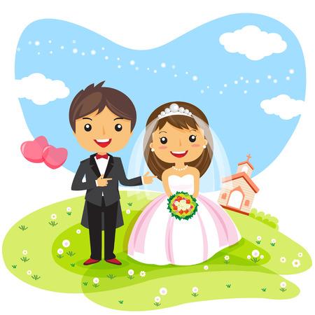 Ilustración de cartoon wedding Invitation couple, cute character design - vector illustration - Imagen libre de derechos