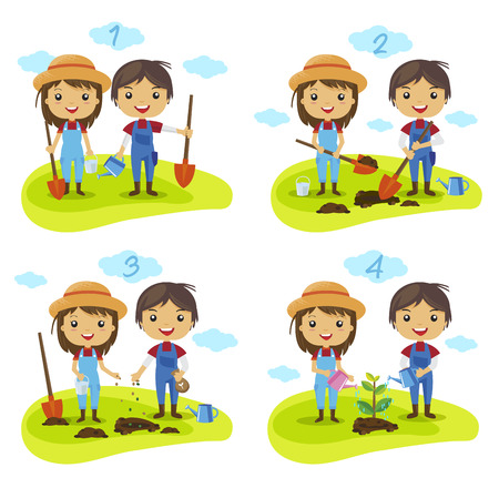 Ilustración de cartoon planting tree process, How to grow a tree, gardening, Farmers Characters vector, watering a plant - Imagen libre de derechos