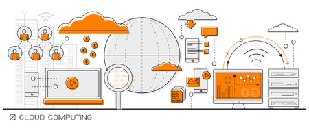Ilustración de big data Cloud Computing concept info graphics. line icon flat design elements vector. - Imagen libre de derechos