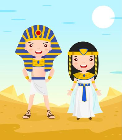 Illustration for egypt costume cartoon character couple in the desert - vector illustration - Royalty Free Image