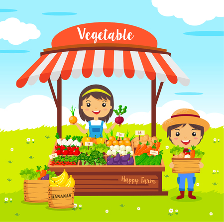 Photo for vegetables shop stall, farmers market, cartoon characters vector, Local market farmer vegetables - Royalty Free Image