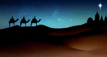 Foto de Three wise men Christmas card, with 3 kings on camels traveling on sand dunes, towards an ancient city with a single star above it, in evening light, with brush-strokes effect. - Imagen libre de derechos