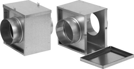 Foto de Industrial ventilation parts isolated on white background. - Imagen libre de derechos