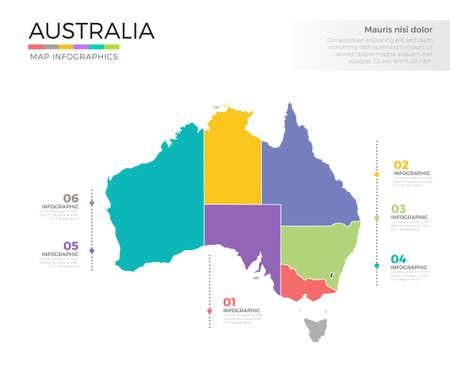 Ilustración de Australia country map infographic colored vector template with regions and pointer marks - Imagen libre de derechos