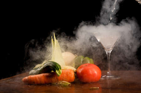 Still life of vegetables and liquid nitrogen