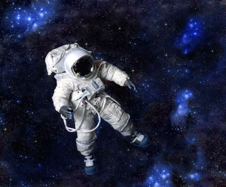 American Astronaut wearing pressure suit against a space background, USA.