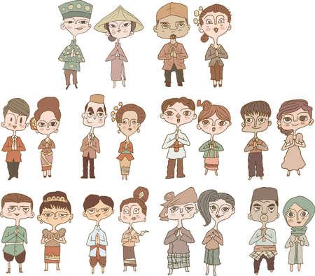 Illustration pour asean cartoon Naive art - image libre de droit