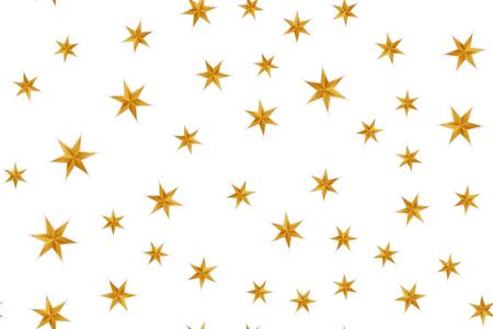 Ilustración de Seamless festive golden pattern with realistic stars on white background. - Imagen libre de derechos