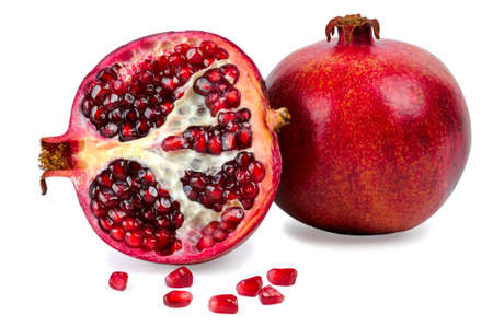 Photo pour Ripe pomegranate fruit isolated on white background - image libre de droit