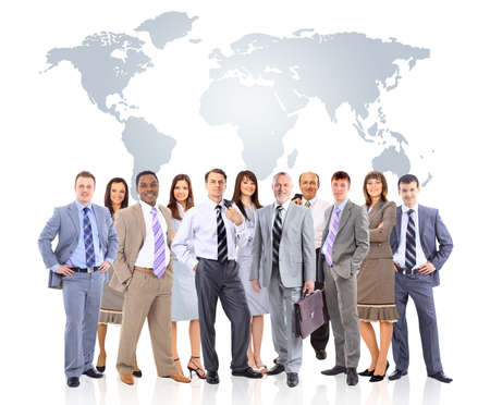 Foto de business people team with world map  - Imagen libre de derechos